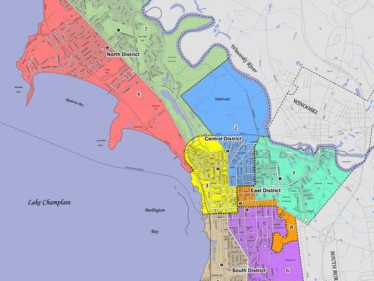 Burlington Ward 4 (orange) and Ward 7 (green) comprise
