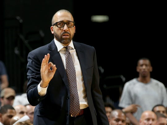 Memphis Grizzlies head coach David Fizdale coaches his team against the Atlanta Hawks during the preseason game at FedExForum.