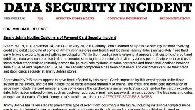 A screen shot of Jimmy John's web page announcing data breach.
