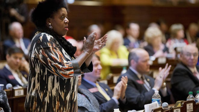 """Mable Thomas, shown here in a Wednesday. Jan. 13, 2016 photo, is among seven candidates running Tuesday in a special election to fill the Atlanta-based congressional seat that was vacated in July by the death of civil rights leader John Lewis. Thomas, known as """"Able Mable†is a Democrat who has served more than 20 years in the state House. She's campaigning on her record and promising to align with the """"little man†during what would be a brief stint in Congress."""
