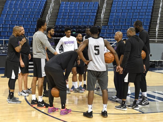 The Reno Bighorns huddle up at the start of practice
