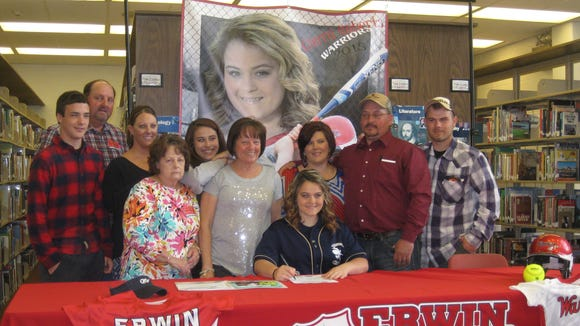 Erwin senior Cierra Roberts has signed to play college softball for Montreat.