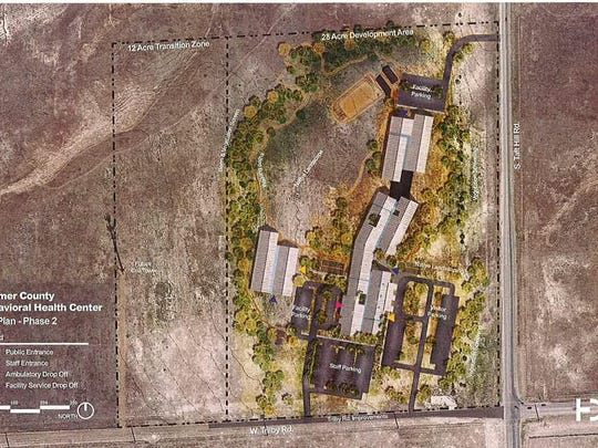 The above map shows a conceptual site plan for a proposed Larimer County behavioral health facility at Trilby and Taft Hill roads, if approved by voters.