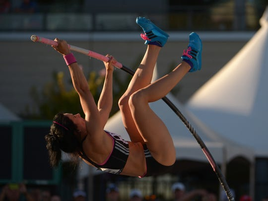 Jenn Suhr competes at the 2014 USA Championships at Hornet Stadium in Sacramento, California.