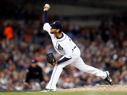 Detroit Tigers pitcher Anibal Sanchez throws against the Minnesota Twins in the seventh inning of a baseball game in Detroit, Friday, Sept. 26, 2014. (AP Photo/Paul Sancya)