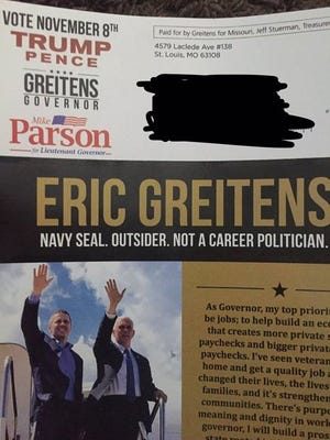 An October mailer cited as evidence by the Missouri Democratic Party's leader that Republican gubernatorial candidate Eric Greitens' campaign broke federal law.
