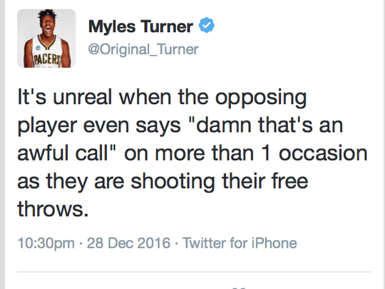 Myles Turner was not happy with the officiating after Wednesday's game against the Wizards.