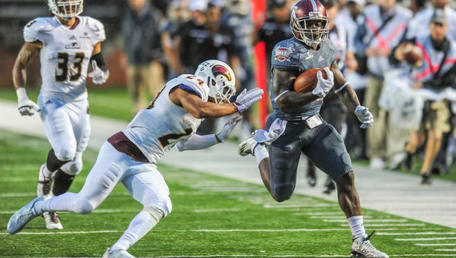 Troy running back Brandon Burks finished 11 receiving yards shy of becoming just the second player in school history to reach 100 yards rushing and 100 yards receiving in the same game.