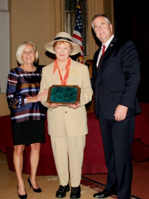 Freeholders Patricia L. Walsh and Brian G. Gallagher presented a special recognition award to Phyllis Konen, of Bridgewater, in honor of her 25 years as a Cultural & Heritage Commissioner and for her outstanding service as the Chairwoman of the Historic Preservation and History Awards Committee from 1993 to 2016.