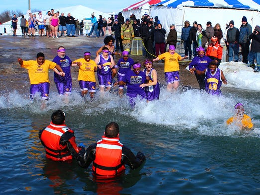 A Polar Plunge for Special Olympics Wisconsin was held in Milwaukee at the McKinley Marina on Saturday, February 15, 2014.