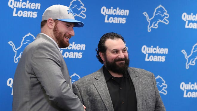Lions first-round pick Frank Ragnow stands with head coach Matt Patricia on April 27 in Allen Park.