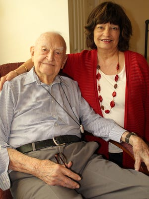 Eric Cates Jr., who will be 98 on May 28, is pictured with daughter Jean Blackmon at a Greenville assisted living facility.