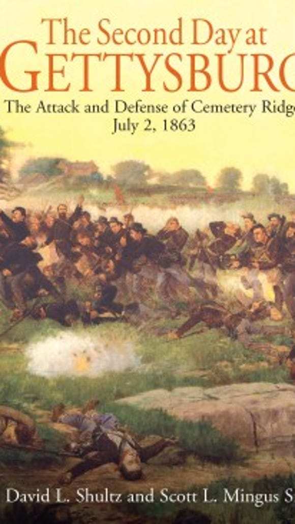 This is the cover of Dave Shultz's and Scott Mingus' new book on the battle of Gettysburg focuses on the attack and defense of Cemetery Ridge.