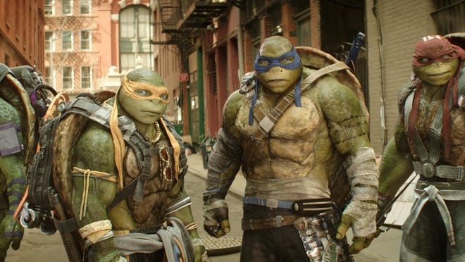 """Donatello, from left, Michelangelo, Leonardo and Raphael are seen in """"Teenage Mutant Ninja Turtles: Out of the Shadows."""""""