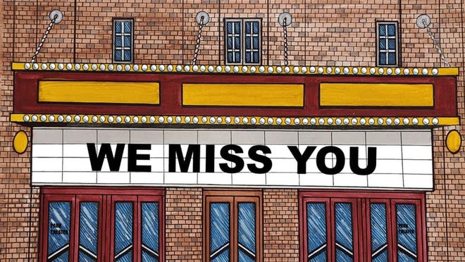"""The Park Theatre marquee in downtown Holland reads """"We Miss You"""" during the pandemic. Lawmakers are calling on the Small Business Administration to expedite rescue funds for entertainment venues."""