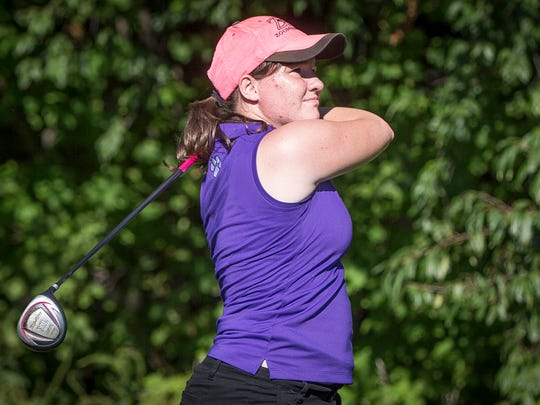 Rachel Hill competes in a match for Central Monday afternoon at the Hickory Hills Golf Course in Farmland.