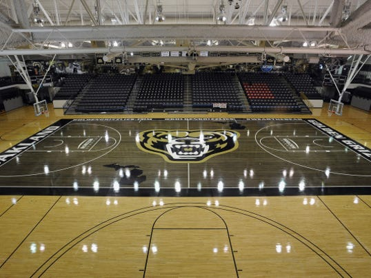 Oakland university unveils its new 39 blacktop 39 basketball court for Cheapest way to make a basketball court