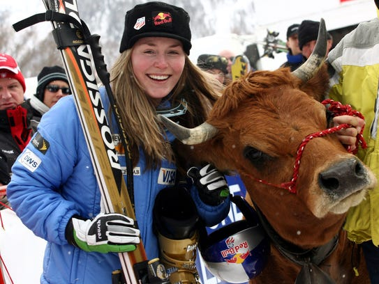 In a file photo from December 2005, Lindsey Vonn smiles