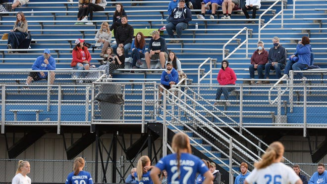 Soccer fans watch as the Fort LeBoeuf High School girls team hosts Seneca at Carm Bonito Field on Sept. 22, 2020, in Waterford.