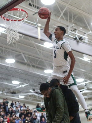 Chino Hills Andre Ball is the winner of the dunk contest on Wednesday, December 28, 2016 during the Rancho Mirage Holiday Invitational at Rancho Mirage High School.