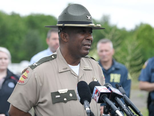 "THP Col. Dereck Stewart speaks to the media Friday, June 1, 2018. Stewart  is leading the ""All Hands on Deck"" initiative Friday to crack down on hazardous driving following an increase in motorcycle fatalities and people driving under the influence."