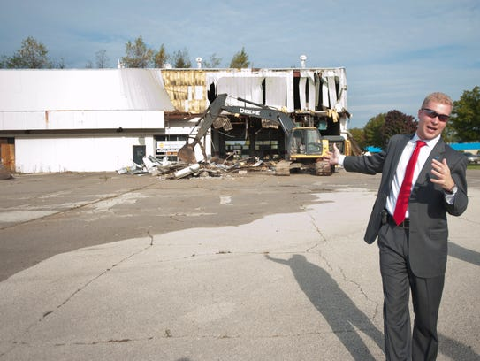 In this file photo, Manitowoc Mayor Justin Nickels speaks as demolition begins on the former Mid-Cities Mall/Lakeview Centre in September 2014. File/USA TODAY NETWORK-Wisconsin