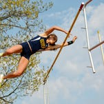 Marine City's Joe Wesley set the Blue Water Meet of Champions pole vault record with this jump in 2007, clearing 16 feet, 3 inches.