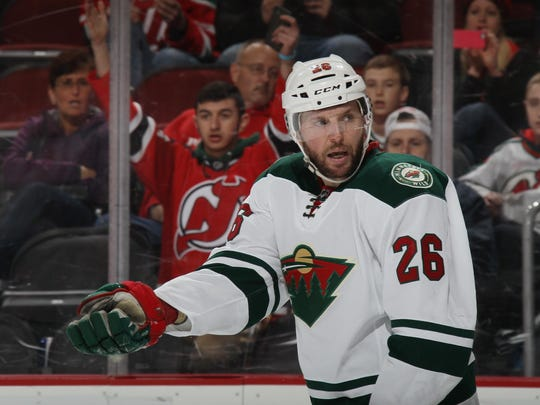 Thomas Vanek #26 of the Minnesota Wild skates against the New Jersey Devils at the Prudential Center on March 17 in Newark, New Jersey. The Devils defeated the Wild 7-4.