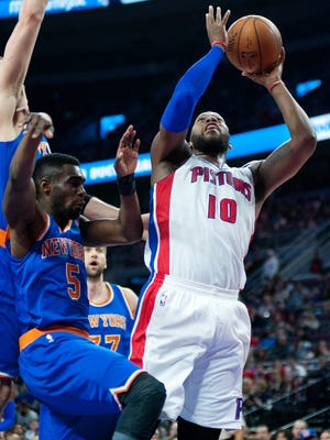 Detroit Pistons forward Greg Monroe goes to the basket during the third quarter.