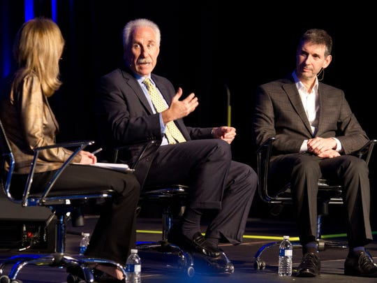 From left, Paula Apsell, senior executive producer for NOVA, interviews Dr. Paul Rothman, president and CEO, Johns Hopkins Medicine and Dr. Gianrico Farrugia, CEO of The Mayo Clinic in Florida , during the 2015 Imagine Solutions Conference Monday (2/23/15) at the Ritz-Carlton Golf Resort, Naples.