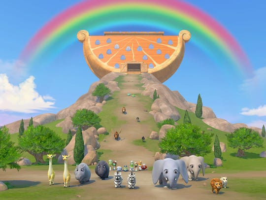 Noah and the animals arrive following a great flood