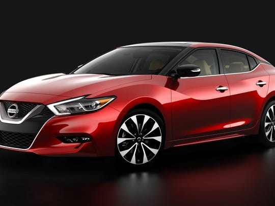 Nissan overhauled its flagship Maxima sedan for the 2016 model year. Styling features the jutting kink in the body panel above the rear wheel that Nissan first used on the Maxima SUV.