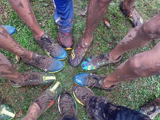 Muddy San Eizario feet Saturday.
