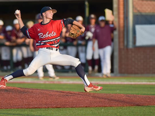 Starting pitcher Brett Weber on the mound as the Teurlings Rebels take on the Breaux Bridge Tigers in State playoff baseball action in Sulphur, LA. May 12, 2016.