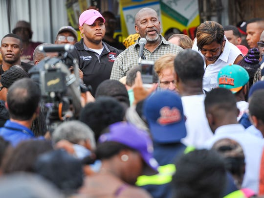 Pastor Carl Williams at the prayer vigil for Alton Sterling.
