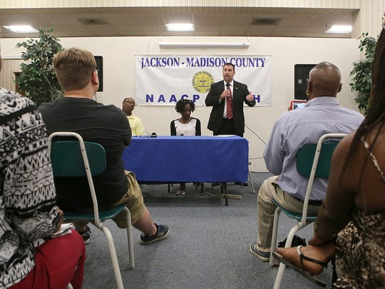 Jackson Police Department Capt. Phillip Kemper speaks during a community meeting on justice reform at the NAACP office downtown on Monday, July 11, 2016.