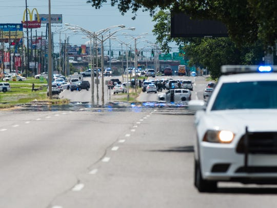 Baton Rouge police respond to active shooter at Hammond Aire Shopping Center. July, 17, 2016.