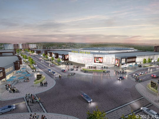 An artist's rendering of the proposed arena and sports clinic at Coralville's Iowa River Landing.