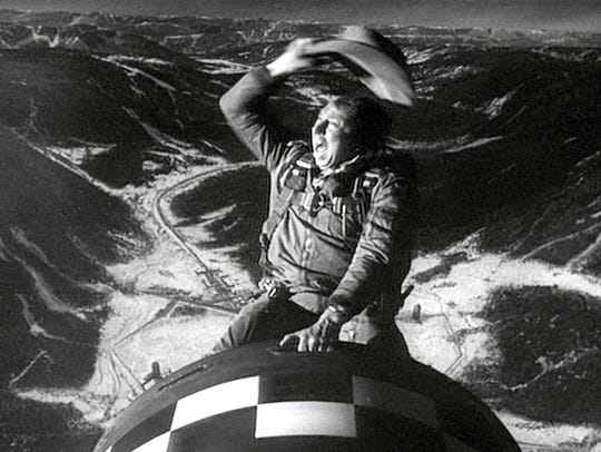 A nuclear bomb provides a very unusual steed for actor