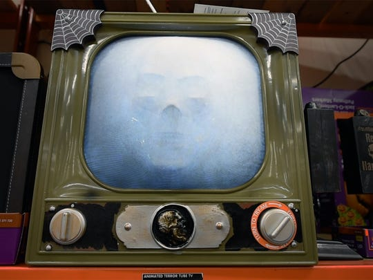 A terrifying television at Home Depot shows static
