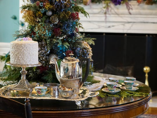 """The Garden Club of Keyport has turned Drumthwacket's Music Room into """"A Victorian Tea at Christmas."""""""