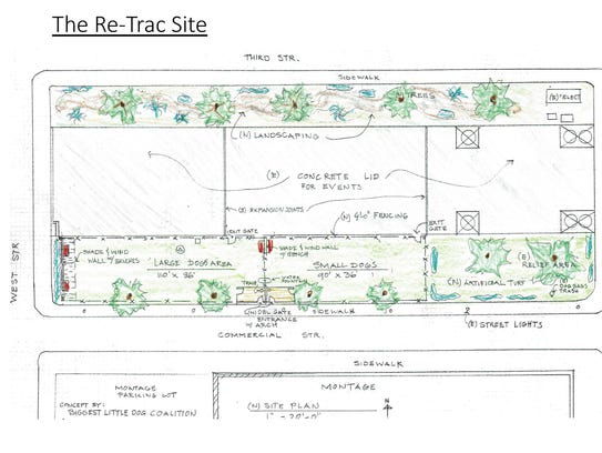 A drawing of the dog park plans for the ReTRAC trench