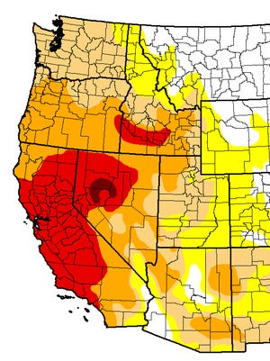 Every western state is in some level of drought, with California, Oregon and Nevada seeing the worst of it. Dark red and red are the worst levels of drought, while orange, tan, and yellow are less severe.
