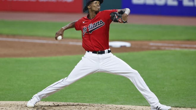 Cleveland Indians starting pitcher Triston McKenzie delivers against the Detroit Tigers during the sixth inning of a baseball game, Saturday, Aug. 22, 2020, in Cleveland.