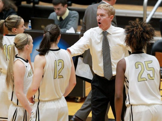 Anderson University coach Jimmy Garrity talks to his team in a timeout during a game last season.