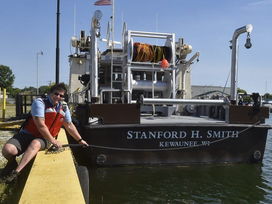 Stormi Sutter of the U.S. Fish & Wildlife Service will captain the new fish research vessel Stanford H. Smith, which is calling Kewaunee its home port.