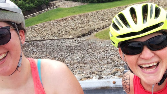 This is what happens when you try to take a selfie in bike helmets and bonk heads instead.