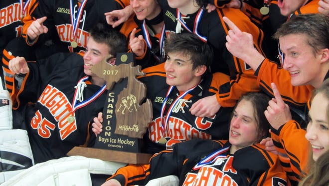 Brighton's hockey team won the only MHSAA state championship by a Livingston County team in the 2016-17 school year.