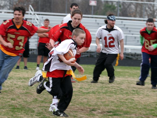 Cody Mauck manages to break away for a touchdown at