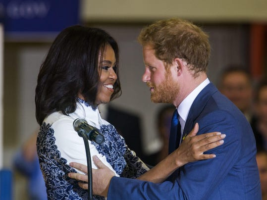 Prince Harry, First Lady, Visit Wounded Veterans in Virginia
